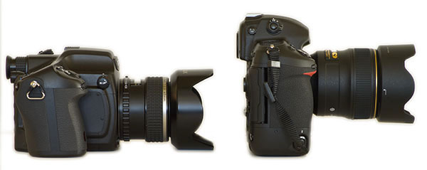 Pentax 645D w. lens and Nikon D3x w. lens